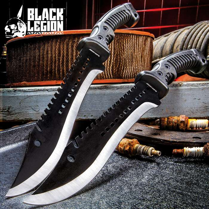 """Black Legion Iron Phantom Bowie / Fixed Blade Knife - 3Cr13 Stainless Steel - Clip Point, Sawback, Black 2-Tone Finish - Belt Sheath - Tactical, Outdoors, Hunting, Survival, Camping - 15 1/4"""""""
