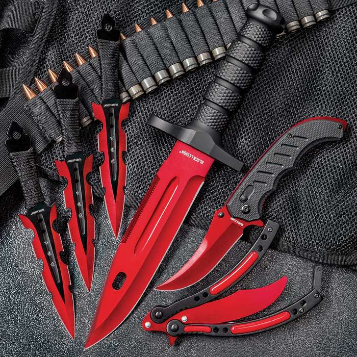 Black Legion Red Fury Knife Set - Stainless Steel Blades, Heavy-Duty TPU Handles, Sheaths Included, Survival, Throwing And Pocket Knives, Butterfly Trainer
