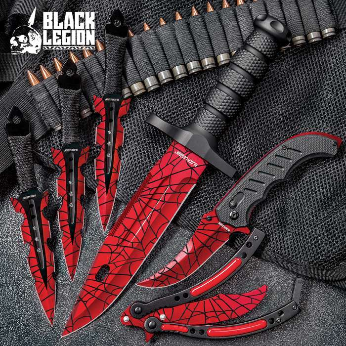 Black Legion Red Spider Web Knife Set - Stainless Steel Blades, Heavy-Duty TPU Handles, Sheaths Included, Survival, Throwing And Pocket Knives, Butterfly Trainer