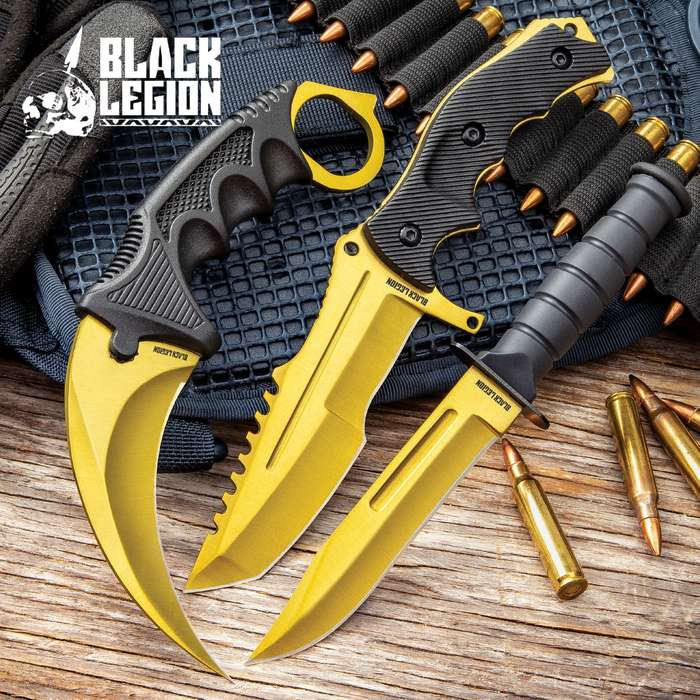 Black Legion Solar Gold Triple Knife Set - Karambit, Hunter Knife, Survival Knife, Stainless Steel Blades, TPU Handles, Nylon Sheaths