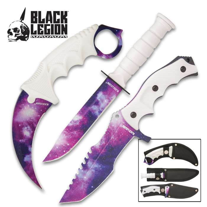 Black Legion White Galaxy Triple Knife Set With Sheaths - Karambit, Hunter Knife, Survival Knife, Stainless Steel Blades, TPU Handles