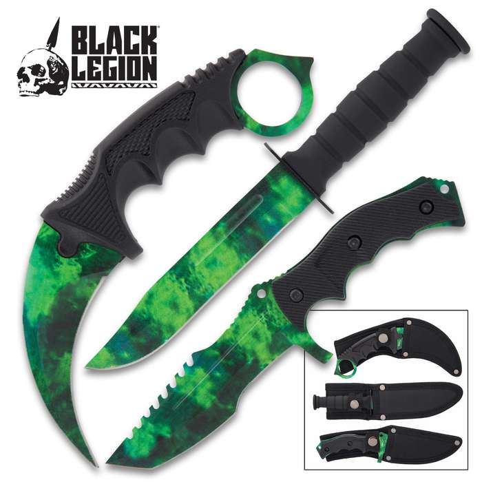 This knife set gives you a dynamic threesome of fixed blade knives, which includes a karambit, hunter knife and a survival knife