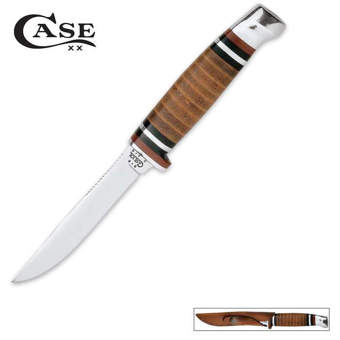 Case 6 1/2 Inch Leather Hunter Knife