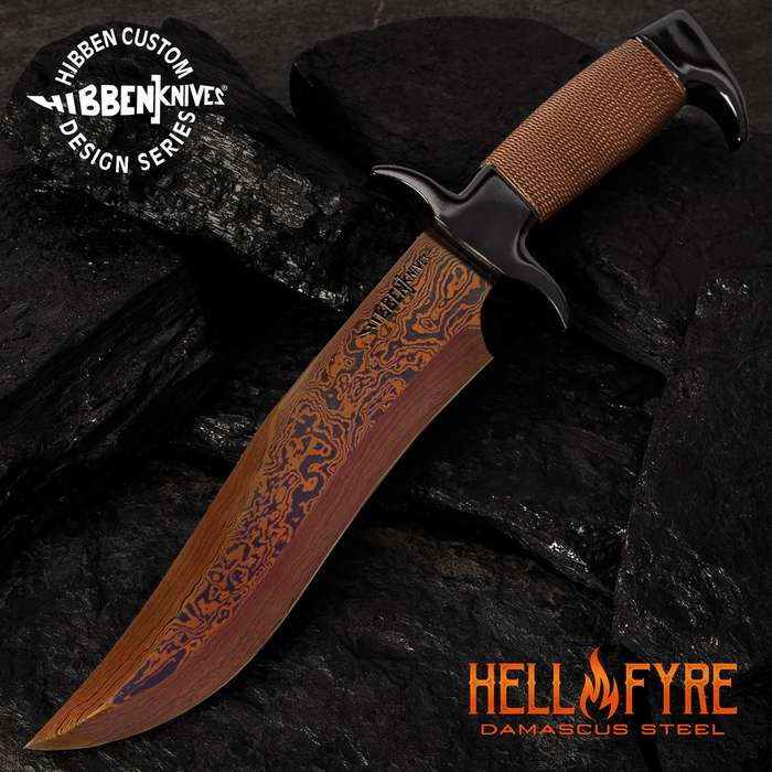Hibben HellFyre Highlander Bowie Knife With Sheath - HellFyre Damascus Steel, Wire-Wrapped Handle, Black Metal Pommel And Guard - Length 13 1/2""