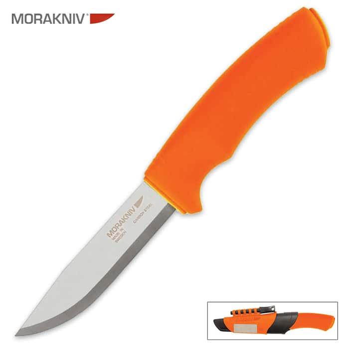 Bushcraft Survival Knife With Sheath Orange