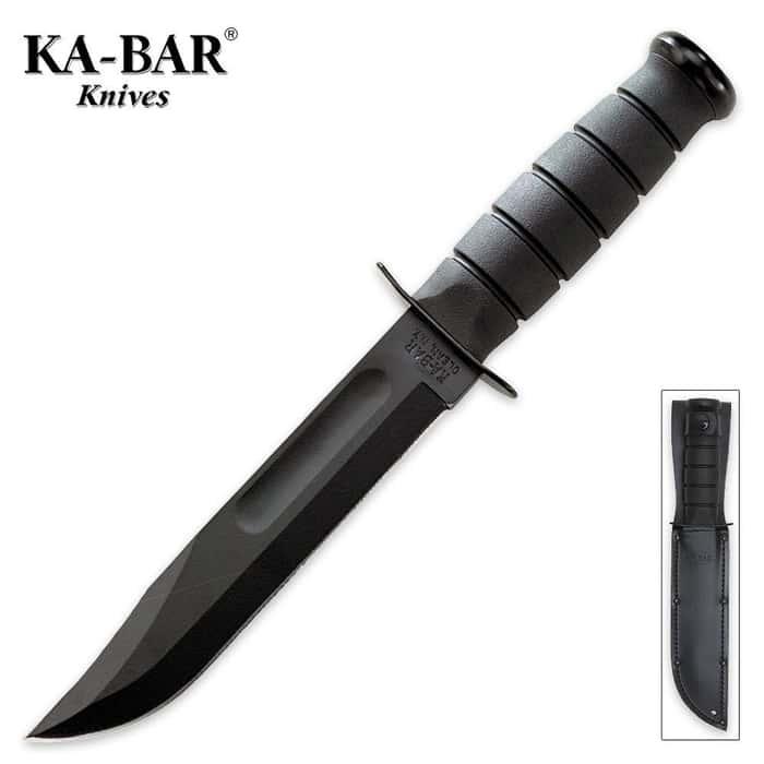 KA-BAR Knife with Black Leather Sheath