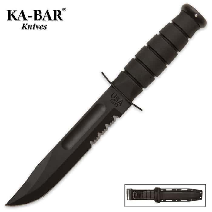 KA-BAR Classic Marine Knife Serrated Black & Sheath