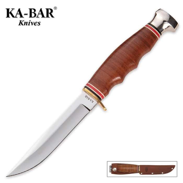 KA-BAR Hunter Knife with Leather Sheath