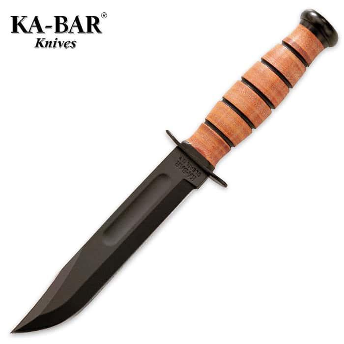 KA-BAR USMC Short Straight Knife with Leather Sheath