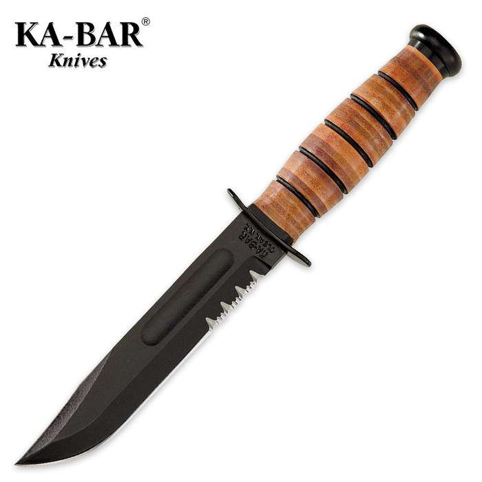 KA-BAR USMC Short Serrated Knife with Leather Sheath