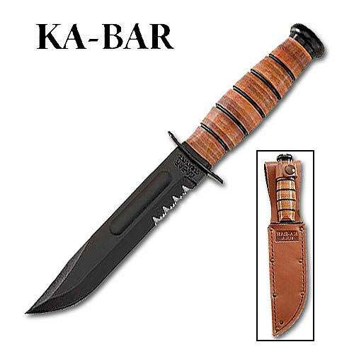 Kabar USA Short Serrated Knife with Leather Sheath