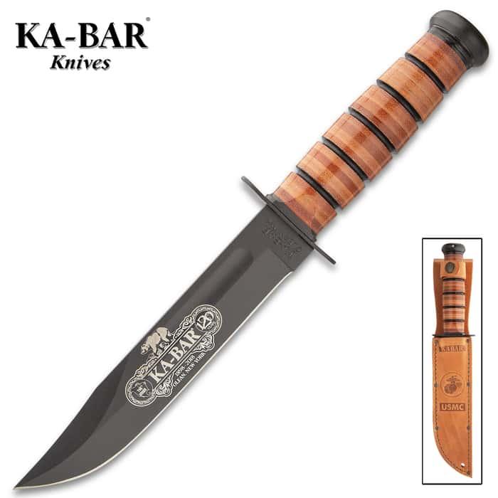 "KA-BAR 120TH Anniversary USMC Knife With Sheath - Engraved, 1095 Steel Blade, Stacked Leather Handle - Length 11 4/5"""