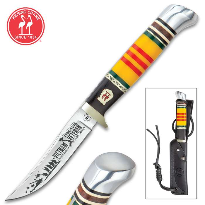 Kissing Crane Vietnam Fixed Blade Knife With Sheath - Stainless Steel Blade, Bone Handle Scales, Stainless Steel Pommel - Length 7 3/4""