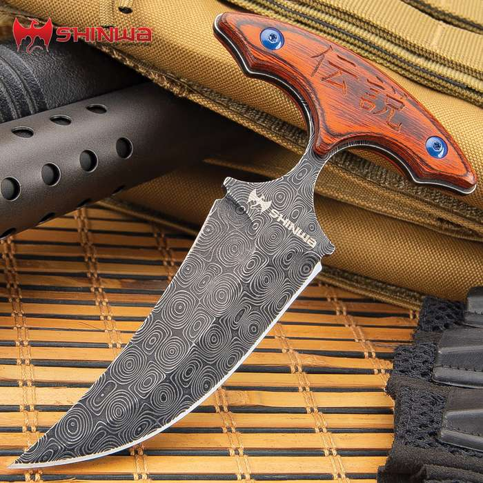 Shinwa Suiryoku Bloodwood Push Dagger With Sheath - 3Cr13 Stainless Steel Blade, Raindrop Finish, Pakkawood Handle Scales - Length 6""