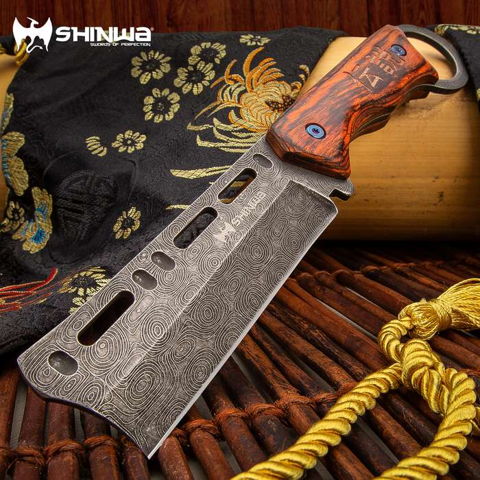 Shinwa Bloodwood Cleaver Knife With Sheath - 3Cr13 Stainless Steel Blade, Full-Tang, Pakkawood Handle Scales - Length 9""
