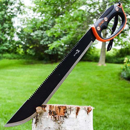 """Elk Ridge Black Machete With Sheath - Stainless Steel Blade, Serrated Spine, Injection-Molded TPR Handle, Lanyard Cord - Length 21 1/2"""""""