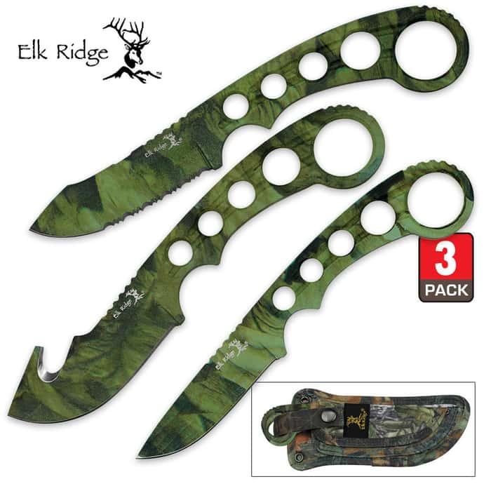 Elk Ridge Fixed Blade Hunting Knife Trio