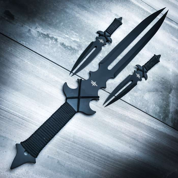 Fantasy Master Fang Clan 3-Piece Short Sword and Twin Dagger Set with Nylon Belt / Shoulder Sheath