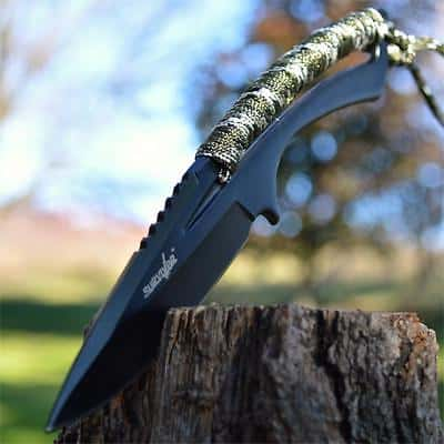 """8"""" RESCUE TACTICAL Hunting Full Tang FIXED BLADE SURVIVAL KNIFE Spear w/ SHEATH"""