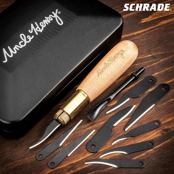 Schrade Uncle Henry Wood Carving Kit - 65Mn High Carbon Steel Blades, Wooden Handle, Brass Jaw Chucking System