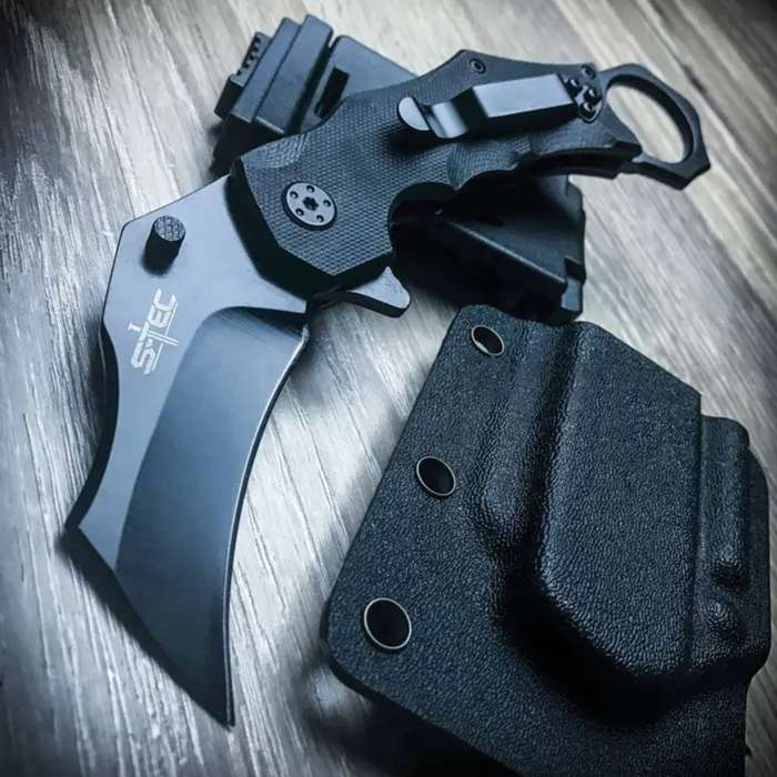 Tactical Combat Folding Karambit Pocket Knife With Quick Release Sheath