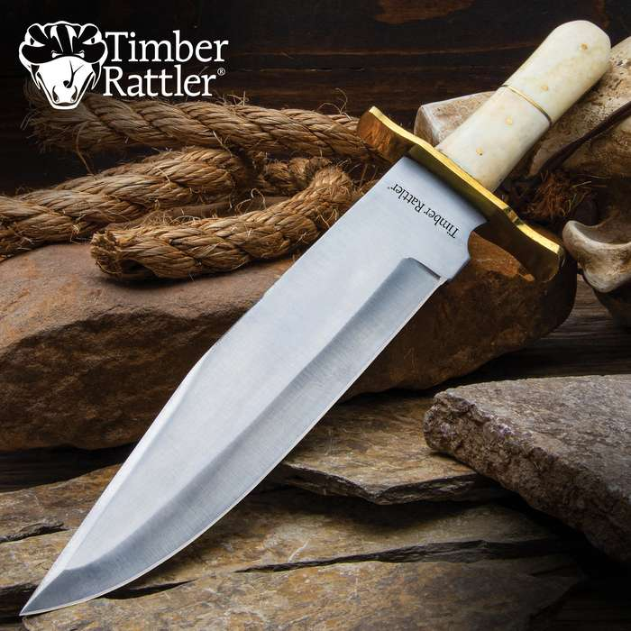 Timber Rattler Ivory Dusk Bone Handle Bowie Knife with Leather Sheath