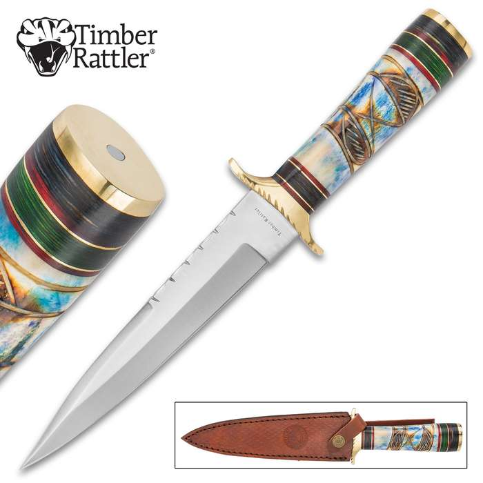 Timber Rattler Raindance Bowie / Fixed Blade Hunting Knife - 420 Stainless Steel - Genuine Bone and Pakkwood Handle with Carved Accents - Leather Sheath - Collecting, Field Use, Display and More - 12""