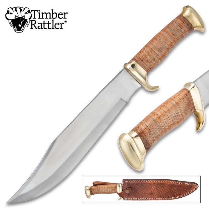 Timber Rattler Banded Wood Bowie Knife With Sheath - Stainless Steel Blade, Wooden Handle, Brass Guard And Pommel - Length 16 1/2""