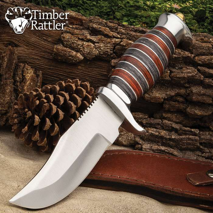 Timber Rattler Sonora River Knife With Sheath - Stainless Steel Blade, Banded Wooden Handle, Stainless Steel Pommel - Length 10""