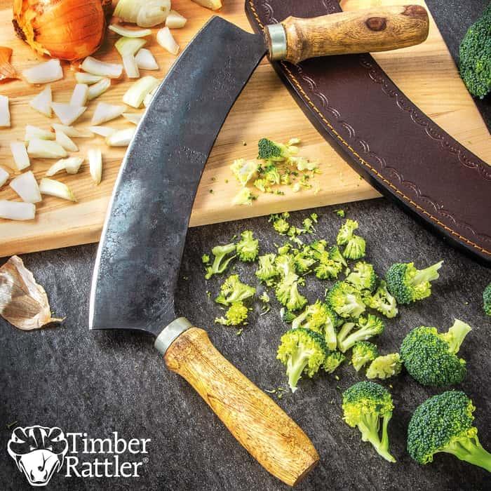 "Timber Rattler Aged 1900'S Rocking Slicer Knife With Sheath - Carbon Steel Blade, Natural Wood Handles - Length 10"""