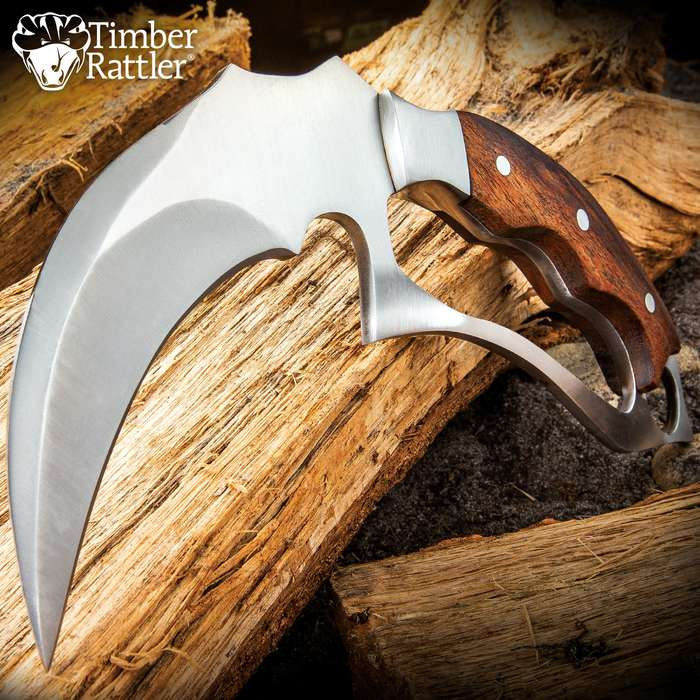 """Timber Rattler Trench Karambit With Sheath - Stainless Steel Blade, Knuckle-Guard Style Handle, Wooden Handle Scales - Length 9"""""""