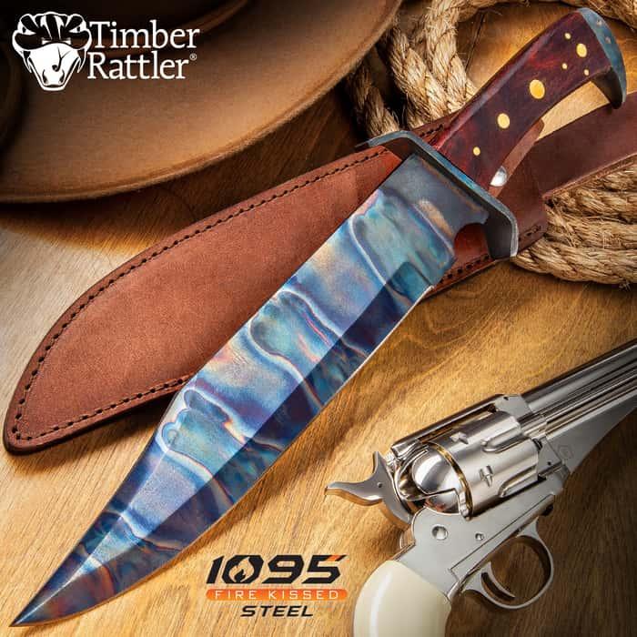 "Timber Rattler Gunslinger Bowie Knife With Sheath - 1095 Fire Kissed Carbon Steel Blade, Steel Guard, Hardwood Handle - Length 16 1/2"""
