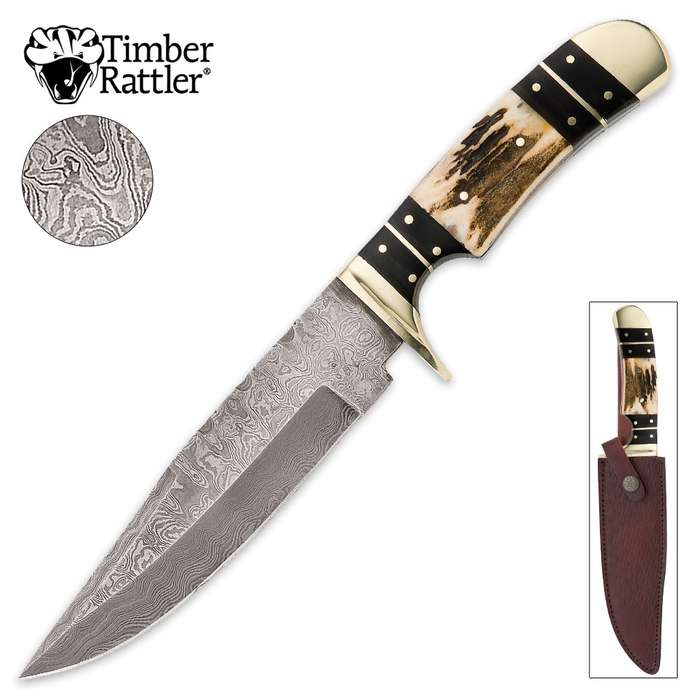 Timber Rattler Colorado Hunter Damascus Knife with Genuine Leather Sheath