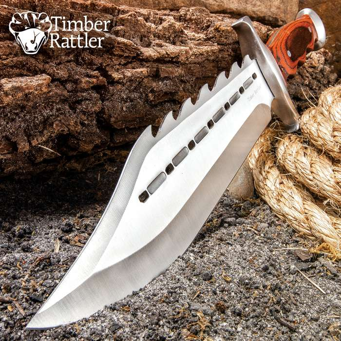 "Timber Rattler Sinful Spiked Bowie Knife With Nylon Sheath - Spiked Back Blade, Ergonomic Hardwood Handle - 15"" Length"