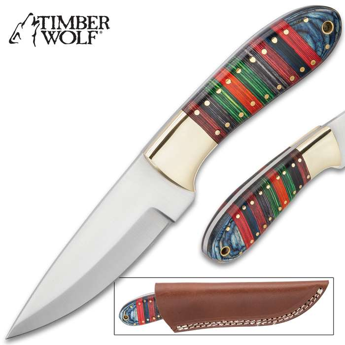 Timber Wolf Tibetan Knife With Sheath - Stainless Steel Blade, Banded Wooden Handle, Brass Bolster - Length 9""