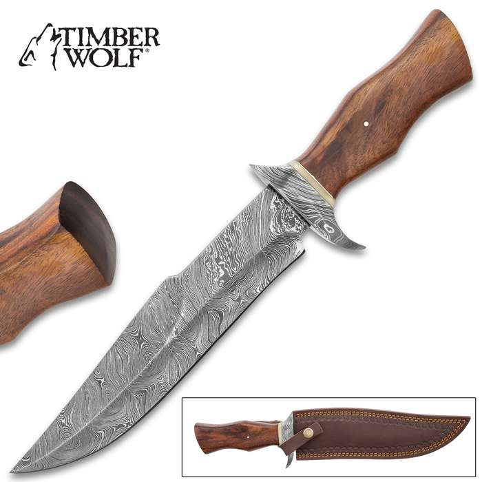 Timber Wolf Oakhurst Fixed Blade Knife With Sheath - Damascus Steel Blade, Wooden Handle, Damascus Steel Handguard - Length 14 1/4""