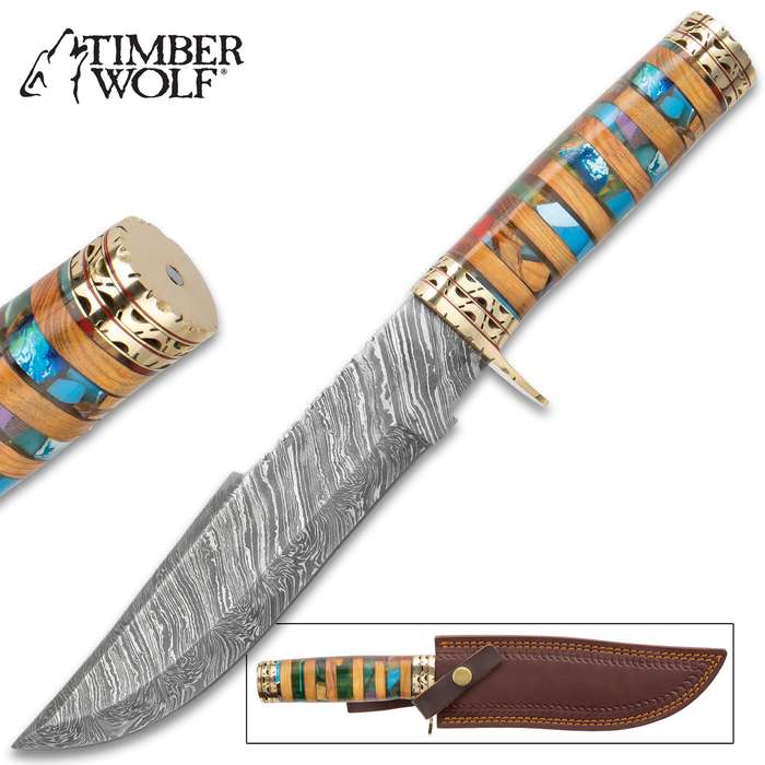 Timber Wolf Macedonia Fixed Blade Knife With Sheath - Damascus Steel Blade, Acrylic And Wood Handle, Brass Pommel And Guard - Length 14 1/4""