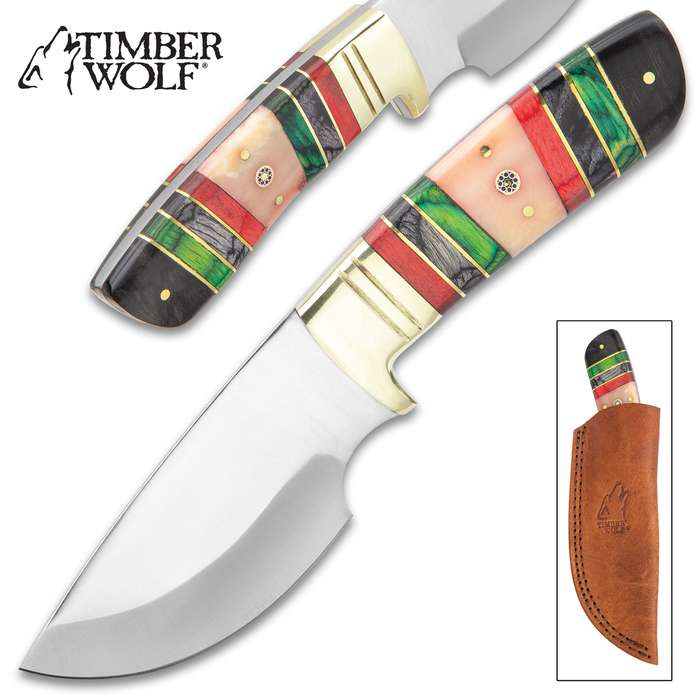 Timber Wolf Emerald Isle Knife With Sheath - Stainless Steel Blade, Full-Tang, Bone And Wood Handle, Brass Bolster - Length 9""