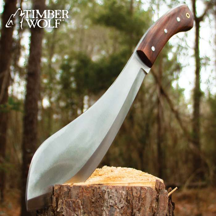 Timber Wolf All-Terrain Kukri Knife With Sheath - High Carbon Steel Blade, Full-Tang, Wooden Handle, Stainless Steel Pins, Lanyard Hole - Length 15 3/4""