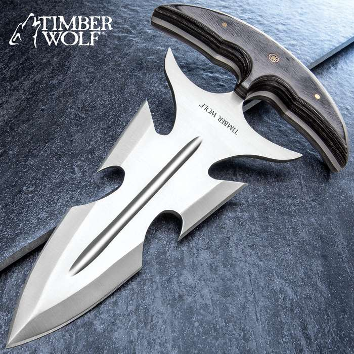 Timber Wolf Great White Push Dagger With Sheath - Stainless Steel Blade, Full Tang, Wooden Handle Scales - Length 8 3/4""