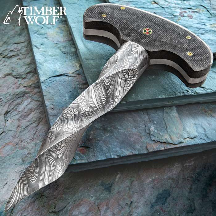 Timber Wolf Damascus Twist Push Dagger - Damascus Steel Blade, Full-Tang, Micarta Handle Scales, Brass Pins - Length 6 1/4""