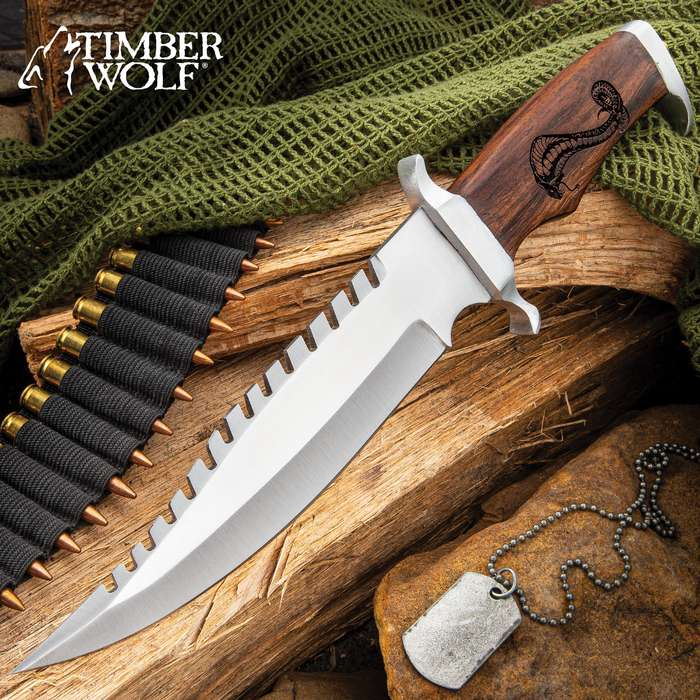 Timber Wolf King Cobra Bowie Knife With Sheath - Stainless Steel Blade, Walnut Wood Handle, Aluminum Guard and Pommel - Length 13 1/4""
