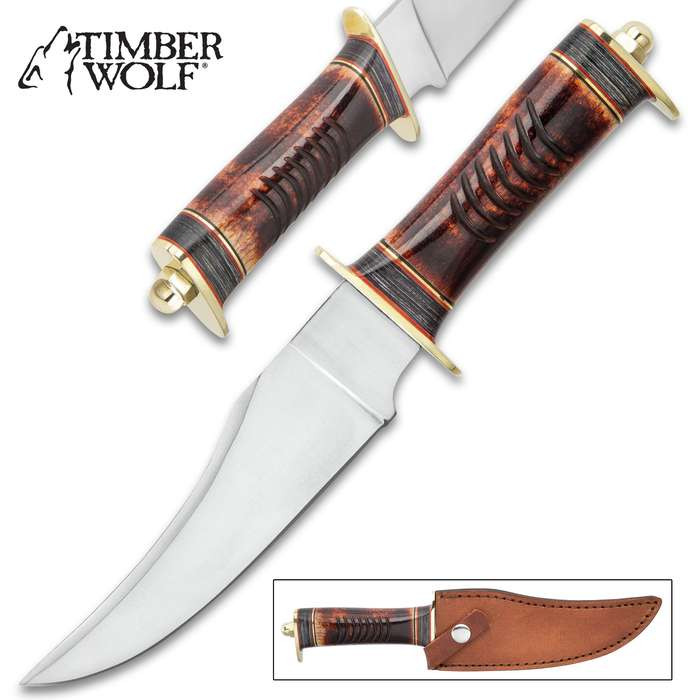 Timber Wolf Aboriginal Hunter Knife With Sheath - Stainless Steel Blade, Stag Bone Handle, Brass Guard And Pommel - Length 10 3/4""