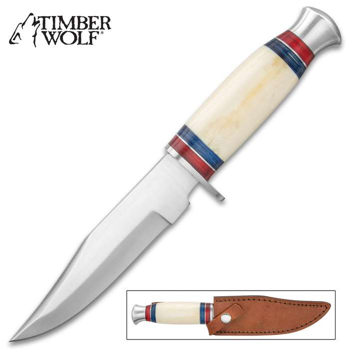 """Timber Wolf Sheikh Defender Knife With Sheath - Stainless Steel Blade, Bone Handle, Stainless Steel Guard And Pommel - Length 10"""""""
