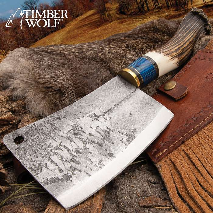 Timber Wolf Antler Crown Cleaver Knife With Sheath - High Carbon Steel Blade, Genuine Horn And Wood Handle - Length 12""