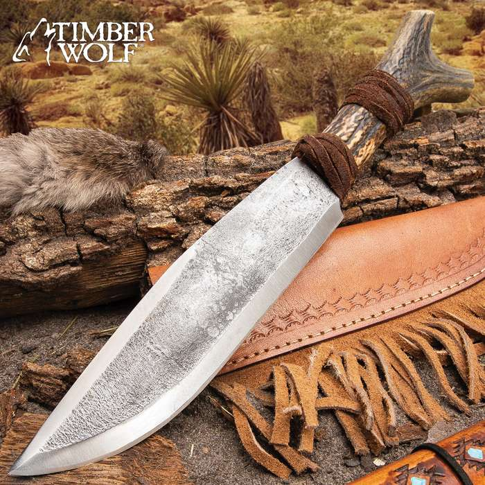 """Timber Wolf Antler Fork Bowie Knife With Sheath - High Carbon Steel Blade, Genuine Horn Handle, Leather Accents - Length 14"""""""