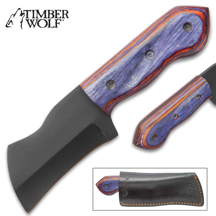 Timber Wolf Azulito Knife With Sheath - Carbon Steel Blade, Matte Black Finish, Wooden Handle Scales - Length 7 1/2""
