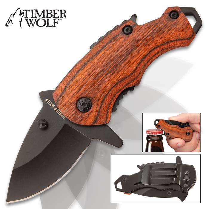 Timber Wolf Money Clip Pocket Knife - Stainless Steel Blade, Non-Reflective Finish, Pakkawood Handle Scales, Assisted Opening