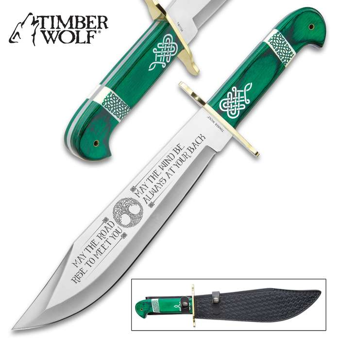 Timber Wolf Celtic Heritage Bowie Knife And Sheath - Stainless Steel Blade, Themed Etchings, Pakkawood Handle Scales, Brass Guard - Length 16""