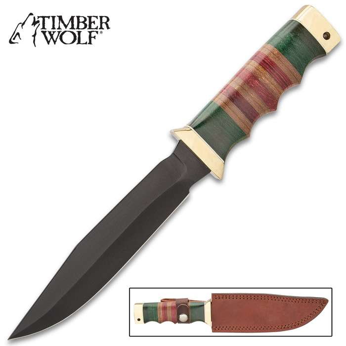 Timber Wolf Vietnam Battle Worn Bowie Knife With Sheath - Stainless Steel Blade, Non-Reflective Finish, Stacked Micarta Handle - Length 11""